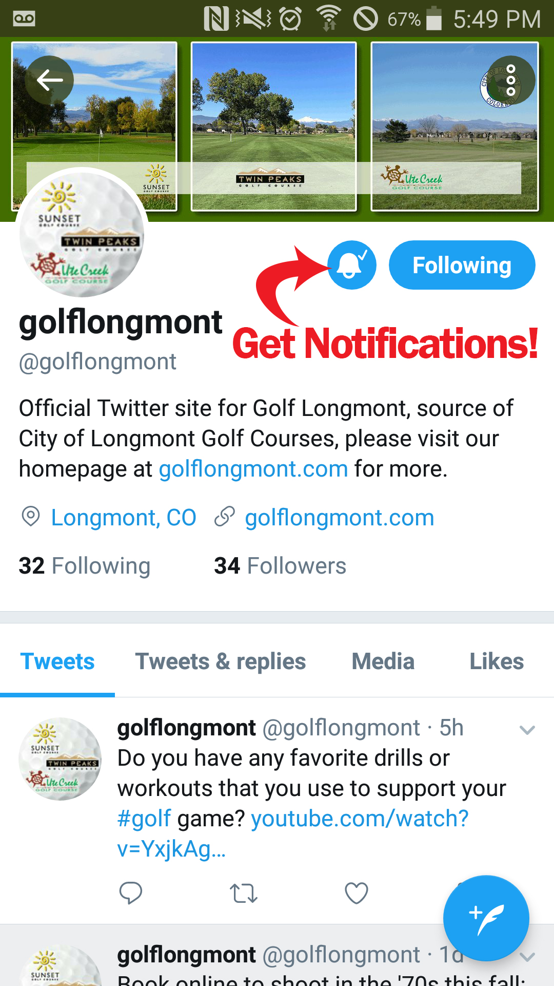 twitter follow notifications mobile